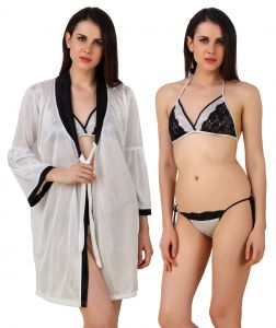 Flora,Fasense,The Jewelbox Women's Clothing - Fasense Women Satin Nightwear 3 Pc Set of Short Nighty, Bra & Thong DP187 A
