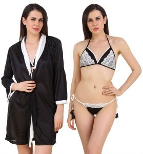 Fasense Women Satin Nightwear 3 PC Set Of Short Nighty, Bra & Thong Dp187 B