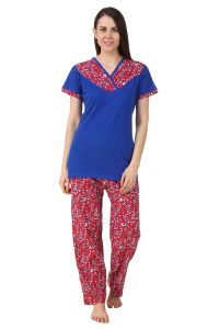 Fasense Women Sinker Cotton Nightwear Nightsuit Top & Pyjama Set Dp191 C