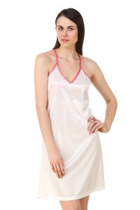 Triveni,La Intimo,Fasense,Gili,Tng Women's Clothing - Fasense Women Satin Nightwear Sleepwear Short Nighty DP195 C