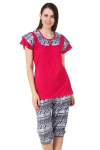 Fasense Women Sinker Cotton Nightwear Sleepwear Top & Capry Dp197 B