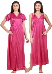 Fasense Women Satin Strawberry Milk Nightwear 2 PC Set Of Nighty & Wrap Gown Ed009 A