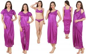 platinum,mahi,jagdamba,la intimo,ag,fasense Sleep Wear (Women's) - Fasense Women's Satin 6 PCs Nighty, WrapGown,Top,Pyjama,Bra & Thong GT001 A