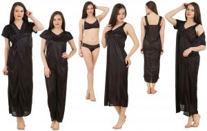 tng,jagdamba,fasense,soie Sleep Wear (Women's) - Fasense Women's Satin 6 PCs Nighty, WrapGown,Top,Pyjama,Bra & Thong GT001 B