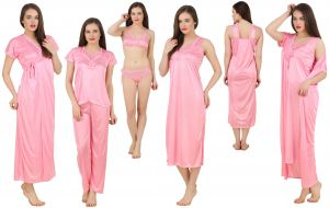 Soie,Flora,Fasense,The Jewelbox Women's Clothing - Fasense Women's Satin 6 PCs Nighty, WrapGown,Top,Pyjama,Bra & Thong GT001 C