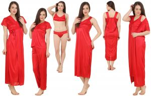 Hoop,Shonaya,Arpera,The Jewelbox,Clovia,Kaamastra,Sangini,Ag,Parineeta,Triveni,Fasense Women's Clothing - Fasense Women's Satin 6 PCs Nighty, WrapGown,Top,Pyjama,Bra & Thong GT001 E