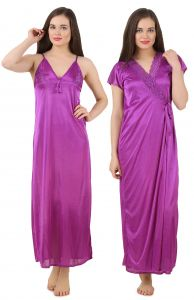 Rcpc,Kalazone,Jpearls,Fasense,Shonaya,Valentine,Bikaw,See More,Karat Kraft Women's Clothing - Fasense Women's Satin Nightwear 2 PCs Set of Nighty & Wrap Gown GT003 A