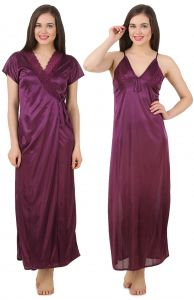Kiara,Sparkles,Lime,Unimod,Cloe,Valentine,Fasense,Mahi,Estoss Women's Clothing - Fasense Women's Satin Nightwear 2 PCs Set of Nighty & Wrap Gown GT003 E