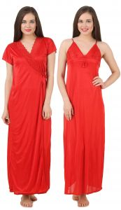 Rcpc,Kalazone,Jpearls,Fasense,Shonaya,Valentine,Bikaw,See More,Karat Kraft Women's Clothing - Fasense Women's Satin Nightwear 2 PCs Set of Nighty & Wrap Gown GT003 F