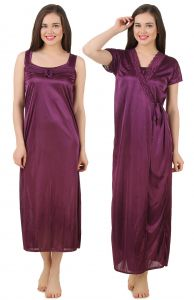 Triveni,La Intimo,Fasense Women's Clothing - Fasense Women's Satin Nightwear 2 PCs Set of Nighty& Wrap Gown GT004 A