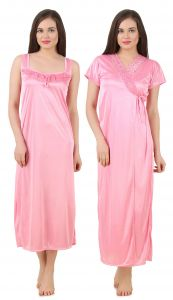 Kiara,Fasense Women's Clothing - Fasense Women's Satin Nightwear 2 PCs Set of Nighty& Wrap Gown GT004 B