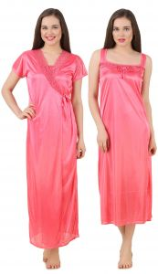 Triveni,La Intimo,Fasense,Gili,Tng,Ag,The Jewelbox,Soie,Mahi Fashions Women's Clothing - Fasense Women's Satin Nightwear 2 PCs Set of Nighty& Wrap Gown GT004 E