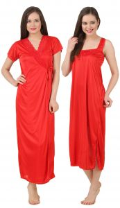 Kiara,Sparkles,Lime,Unimod,Cloe,Valentine,Fasense,Mahi,Estoss Women's Clothing - Fasense Women's Satin Nightwear 2 PCs Set of Nighty& Wrap Gown GT004 F