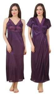 Fasense Women Satin Nightwear 2 PCs Set Of Nighty & Wrap Gown Gt005 A