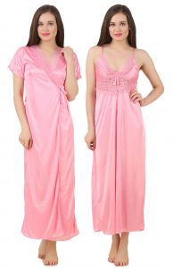 Nightgown Sets - Fasense Women's Satin Nightwear 2 PCs Set of Nighty& Wrap Gown GT005 B