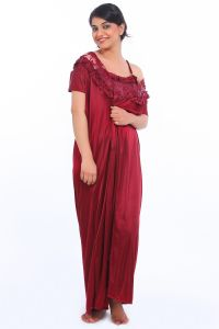 Fasense Satin Maroon 2pc Set Robe & Nighty Dp035 D