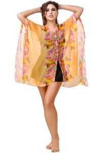 Fasense Swim Wear (Women's) - Fasense Floral Printed Orange Multi Beachwear Cover Up MM002 B