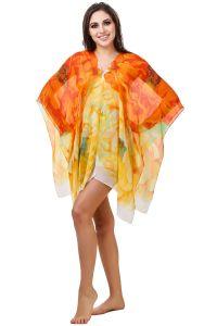 Fasense Floral Printed Yellow Orange Multi Beachwear Cover Up MM004 B