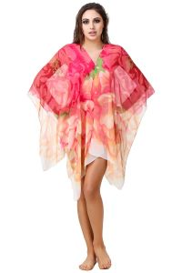 Fasense Floral Printed Coral Red Multi Beachwear Cover Up MM004 D