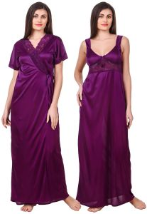 Avsar,Lime,Sleeping Story,Surat Diamonds,Fasense,Ag Women's Clothing - Fasense Women Satin Purple Nightwear 2 Pc Set of Nighty & Wrap Gown OM007 A
