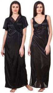 Kiara,Fasense,Triveni,Valentine,Surat Tex,Kaamastra,Sukkhi,Shonaya,Cloe Women's Clothing - Fasense Women Satin Black Nightwear 2 Pc Set of Nighty & Wrap Gown OM007 B