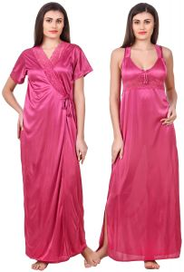 tng,jagdamba,sleeping story,surat tex,see more,fasense,soie Nightgown Sets - Fasense Women Satin Coral Pink Nightwear 2 Pc Set of Nighty & Wrap Gown OM007 C