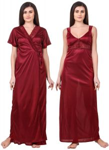 triveni,lime,la intimo,pick pocket,sleeping story,ag,my pac,mahi fashions,fasense Nightgown Sets - Fasense Women Satin Maroon Nightwear 2 Pc Set of Nighty & Wrap Gown OM007 D