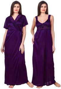 Fasense Women Satin Dark Purple Nightwear 2 PC Set Of Nighty & Wrap Gown - ( Code - Om007 F )