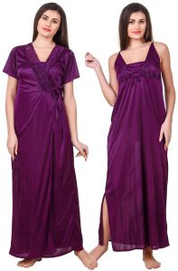 Kiara,Sukkhi,Jharjhar,Fasense,Kalazone,Asmi Women's Clothing - Fasense Women Satin Purple Nightwear 2 Pc Set of Nighty & Wrap Gown OM008 A