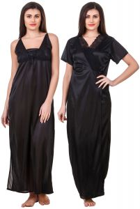 Hoop,Kiara,Oviya,Gili,Fasense Women's Clothing - Fasense Women Satin Black Nightwear 2 Pc Set of Nighty & Wrap Gown OM008 B
