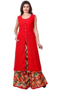 Salwar Suits (Readymade) - Fasense Solid Floral Print Ethnic Wear Top & Skirt Set VG102 C