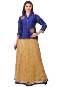 Fasense Chaniya, Ghagra Cholis - Fasense Solid Ethnic Wear Top & Lehenga Set VG107 B