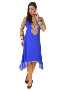 Fasense Kurtis - Fasense Women's Georgette & Net Royal Blue Stitched Kurti, VK003 E