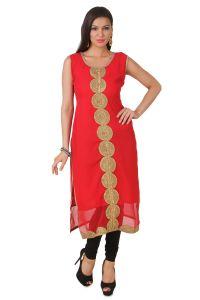 Fasense Kurtis - Fasense Women's Georgette Red Stitched Kurti, VK005 A