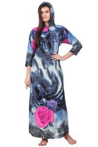 Embroidered Nightgowns - Fasense Women Woolen Blue Multi Winter Nightwear Long Nighty YC005 A