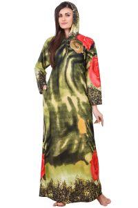 Nightgowns - Fasense Women Woolen Green Multi Winter Nightwear Long Nighty YC005 C