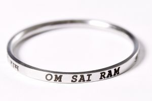 "Men's Bracelets - Punjabi Mens Kada (Stainless Steel Laser Marked with ""Om Sai Ram"") 0.2"" thickness"