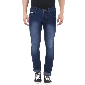 Jeans (Men's) - Stylox Mens Dark Blue Monkey Wash Slim Fit  Jeans (Product Code - DN-DB-S-4009)
