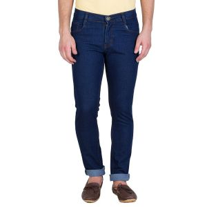 Stylox Dark Blue Slim Solid Jeans For Men (product Code - Dnm-db-s-1002)
