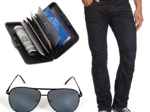 Stylox Black Blue Denim With Sunglass And Credit Card Holder