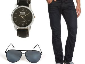 Stylox Black Blue Denim With Watch And Sunglass