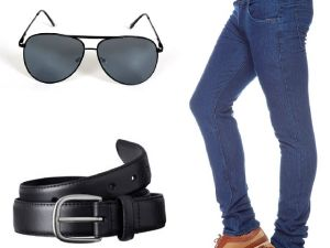 Stylox Dark Blue Denim With Belt And Sunglass