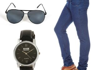 Stylox Dark Blue Denim With Watch And Sunglass
