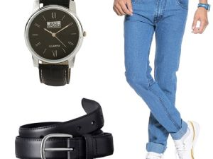 Stylox Light Blue Denim With Belt And Watch