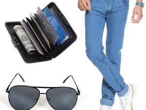 Stylox Light Blue Denim With Sunglass And Credit Card Holder