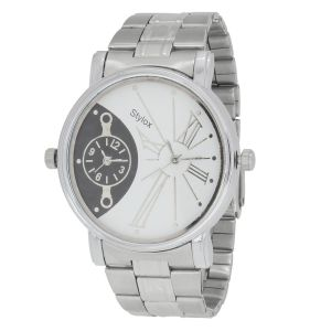 Stylox White And Black Dual Times Watch