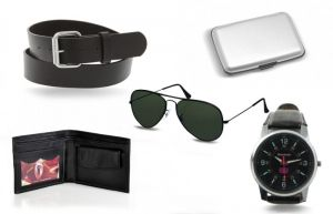Stylok Mens Combo -aluma Wallet Sunglasses Wallet Watch Belt