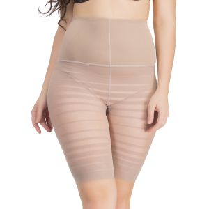 Clovia Personal Care & Beauty - Clovia Waist Cincher In Skin With Striped Thigh Shaper  -(Product Code- SW0022P24)