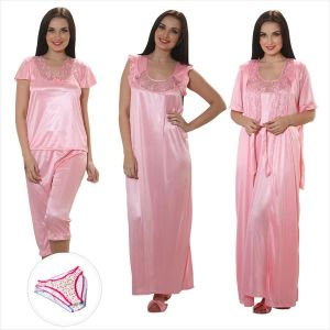 Clovia 4 PCs Satin Nightwear In Baby Pink With Free Brief