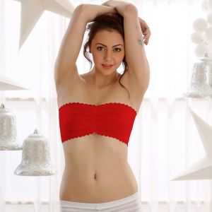 Clovia Sheer Stretchable Lace Tube Bra In Red Br0111c04